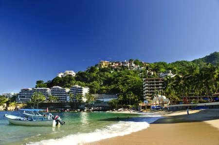puerto: View on Pacific coast of Mexico resort town of Mismaloya near Puerto Vallarta