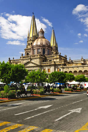 guadalajara: View of the Cathedral from Zocalo in historic center in Guadalajara, Jalisco, Mexico