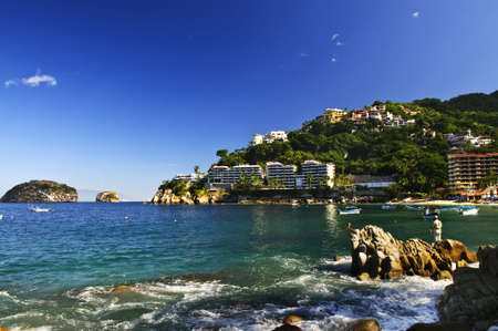 View on Pacific coast of Mexico resort town of Mismaloya near Puerto Vallarta Stock Photo - 6555686