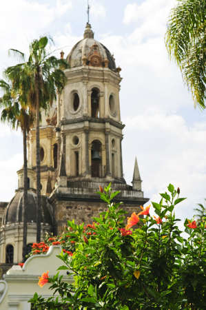 jalisco: Hibiscus blooming near Temple of Solitude or Templo de la Soledad, Guadalajara Jalisco, Mexico Stock Photo