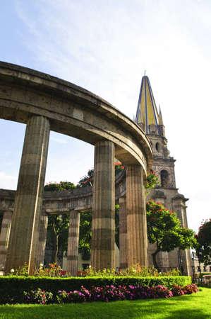jalisco: Rotonda de los Jalisciences Ilustres and Cathedral in historic center in Guadalajara, Jalisco, Mexico