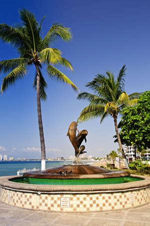 puerto: Friendship fountain on Malecon at Pacific ocean in Puerto Vallarta, Mexico Stock Photo