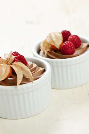 chocolaty: Two servings of chocolate mousse dessert with fruit