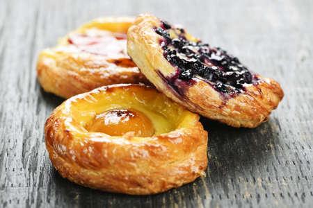 Closeup on three sweet fruit danish desserts