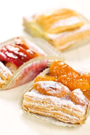 Closeup on slices of flaky fruit strudel desserts Stock Photo