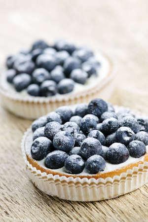 Closeup of fancy gourmet fresh blueberry dessert tarts Stock Photo - 6708283