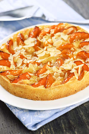 Fresh baked apricot and almond pie dessert photo