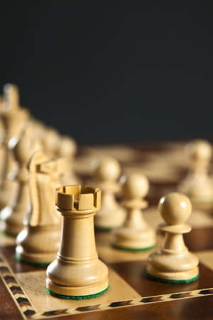 Close up of white chess pieces on wooden chessboard photo