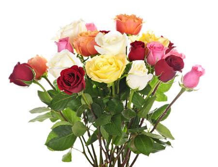雑色多色のバラの白い背景で隔離の花束