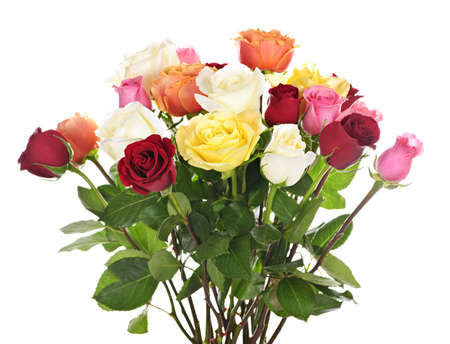 Bouquet of assorted multicolored  roses isolated on white background Stock Photo
