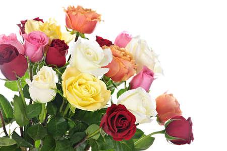 rosas amarillas: Bouquet de rosas multicolores surtidos, aislados en fondo blanco