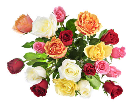Bouquet of assorted multicolored roses from above isolated on white background photo