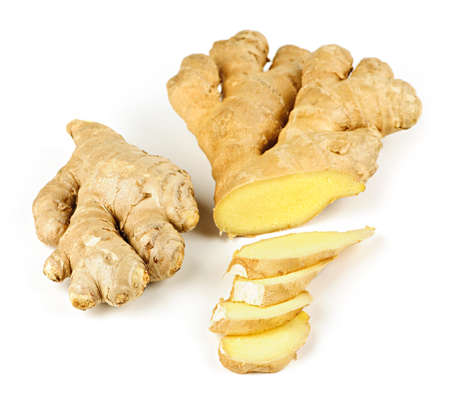 ginger plant: Sliced ginger root spice isolated on white background Stock Photo