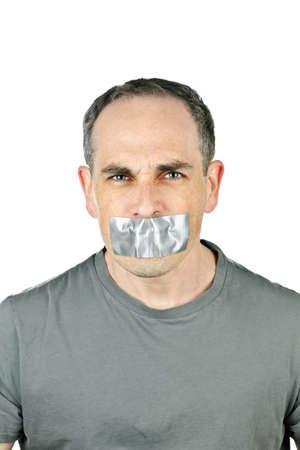 duct: Retrato de hombre enojado con cinta adhesiva sobre su boca Foto de archivo
