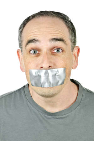 Portrait of man with duct tape over his mouth Banco de Imagens - 6856920