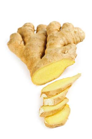 Sliced ginger root spice isolated on white background Reklamní fotografie