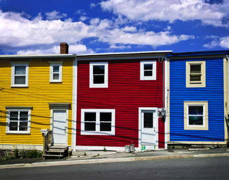 nfld: Colorful houses on hill in St. Johns, Newfoundland, Canada
