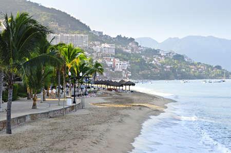 puerto: Beach and Malecon on Pacific Ocean in Puerto Vallarta, Mexico
