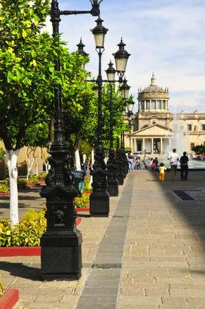 guadalajara: Plaza Tapatia leading to Hospicio Cabanas in historic Guadalajara center, Jalisco, Mexico Stock Photo