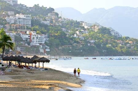 puerto: Morning beach and ocean in Puerto Vallarta, Mexico