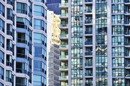 Tall condominium or apartment buildings in the city