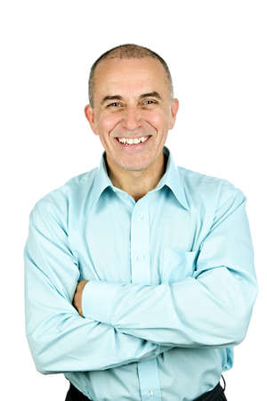 Portrait of smiling middle aged man isolated on white background photo
