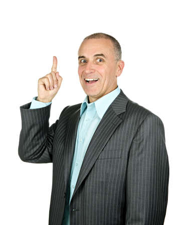 Portrait of smiling pointing businessman isolated on white background photo