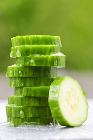 Stack of fresh organic green cucumber slices Stock Photo - 7372868