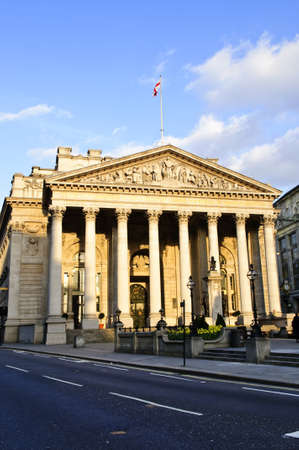 europeans: Front view of Royal Exchange building in London