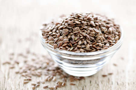 flax seed: Bowl full of brown flax seed or linseed