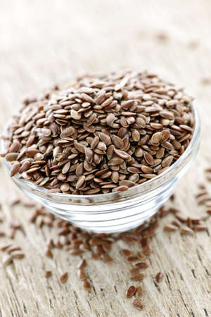 Bowl full of brown flax seed or linseed Stock Photo - 7372953