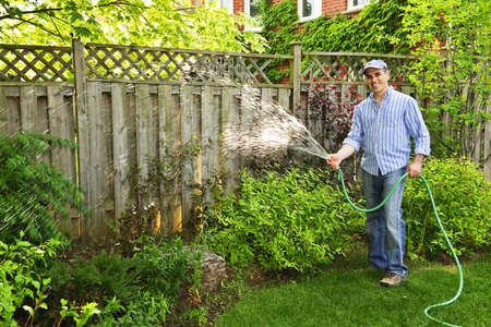 garden hose: Man watering the garden with hose in backyard