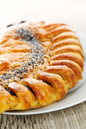baked treat: Closeup of poppy seed strudel dessert pastry