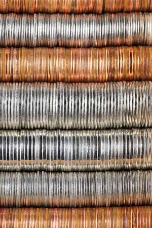dime: Background of penny nickel dime and quarter stacked coins