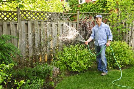 paisajismo: Hombre regar el jard�n con manguera en el patio trasero