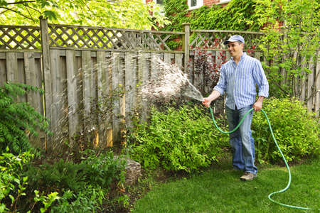 Man watering the garden with hose in backyard Stock Photo - 7607065