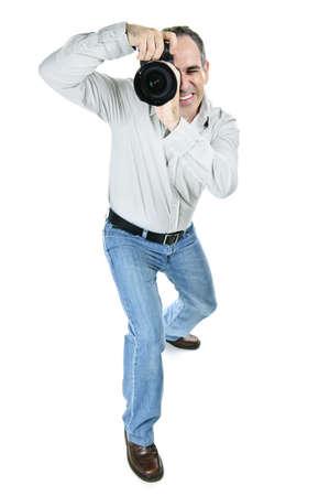 카메라와 남성 작가의 초상화는 흰색 배경에 고립