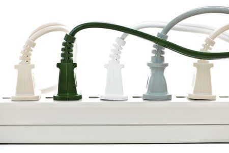 plugged: Many plugs plugged into electric power bar