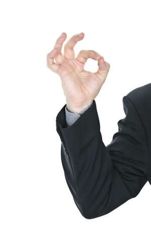 alright: Business man giving okay sign hand gesture Stock Photo