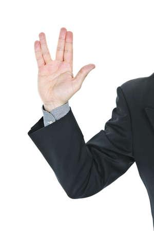 Business man Vulcan donnant salutation de Star Trek Banque d'images - 7675396