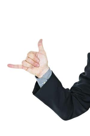 hang loose: Business man giving hang loose hand gesture