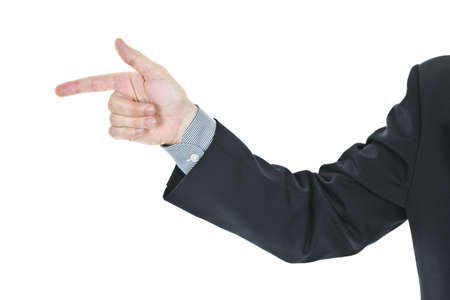 Hand of a business man pointing finger photo