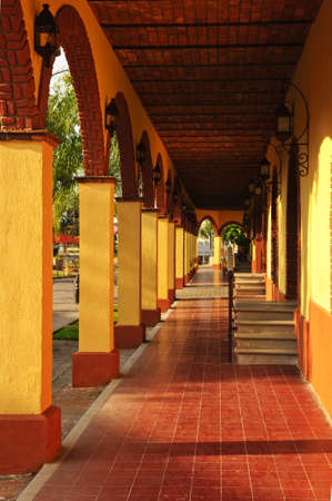 passages: Covered sidewalk in Tlaquepaque shopping district in Guadalajara, Jalisco, Mexico Stock Photo