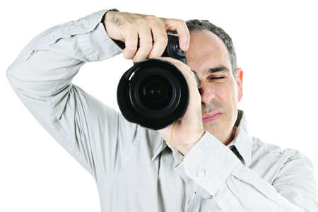 Portrait of male photographer with camera isolated on white background Stock Photo - 7675401