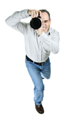 Portrait of male photographer with camera isolated on white background Stock Photo - 7675391