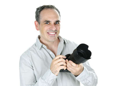 Portrait of male photographer with camera isolated on white background Stock Photo - 7675393