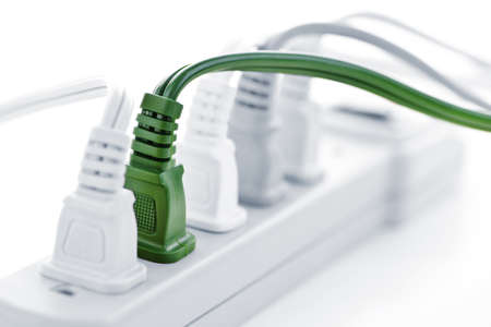 power cables: Many plugs plugged into electric power bar