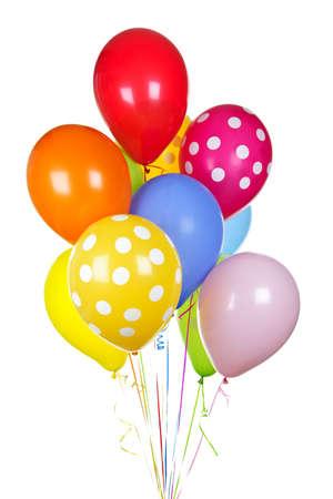 Kleurrijke helium ballonnen geïsoleerd op witte achtergrond