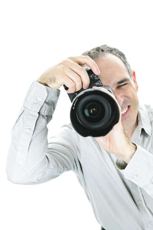 Portrait of male photographer with camera isolated on white background Stock Photo - 7709981