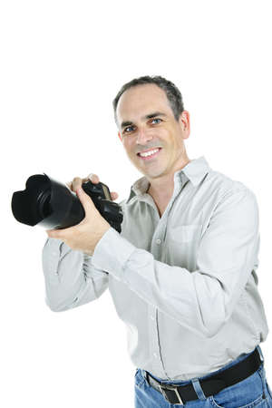 Portrait of male photographer with camera isolated on white background Stock Photo - 7709983